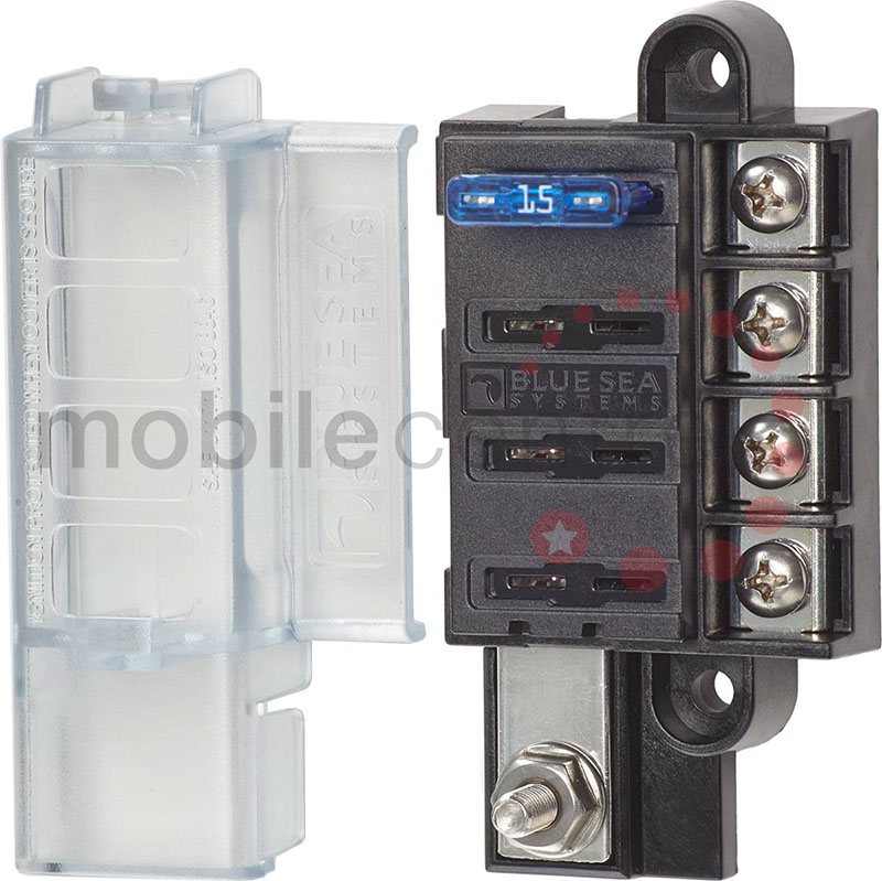 blue sea 5045 4 way standard blade fuse box with lid and single power input  terminal - mobile centre