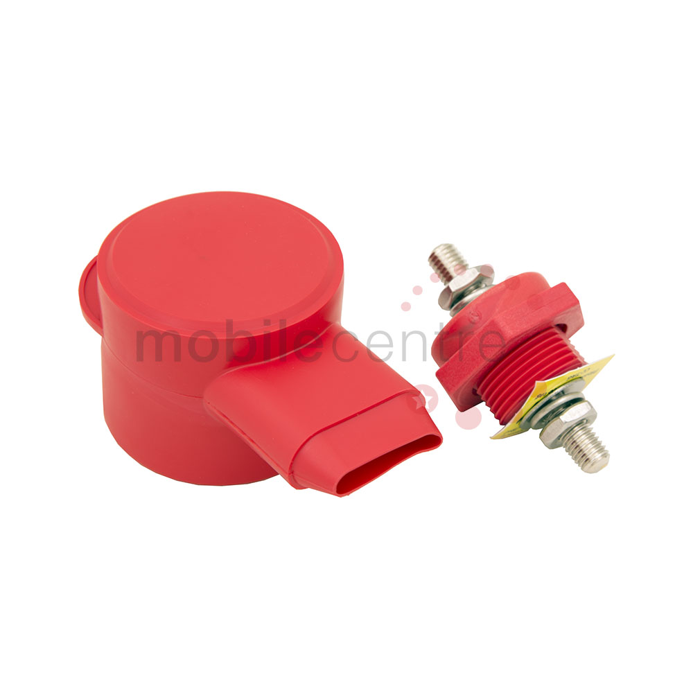 Red and Black Thru Panel Battery Cable Bulkhead Connectors with Copper Core 3//8 Terminal Post